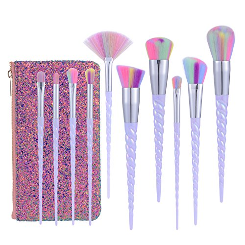(Xixiw Unicorn Makeup Brushes Set Make up Brushes Professional Foundation Powder Eyeshadow Blending Concealer Cosmetics Tools Brushes Kit with Case (10 Pcs), Light Purple)