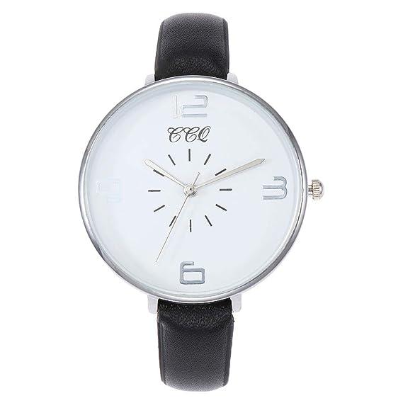 alikeey Reloj Unisex Digital de Cuarzo Reloj de Pulsera Analógica Hombre Correa de Piel con Correa de Cuero de Cuarzo Casual de Mujer Taglia Unica E: ...