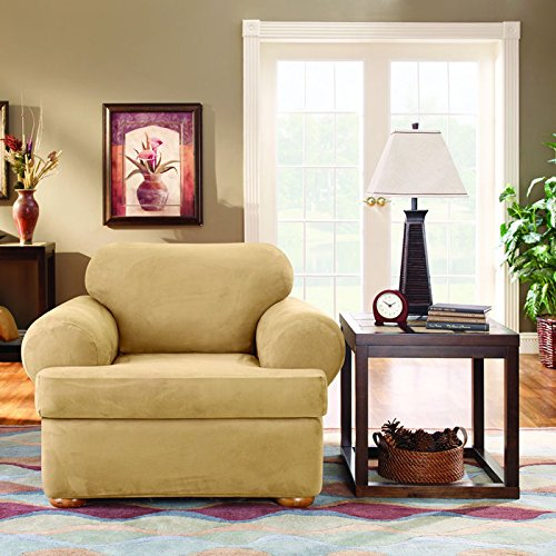 T-cushion Chair Stretch Slipcover (Sure Fit Stretch Suede Chair 2 Piece T-Cushion)