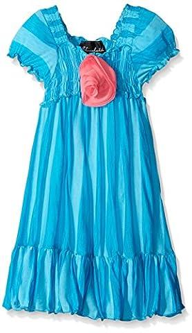 Elisabeth Little Girls' Toddler Stripe Smocked Dress, Aqua, 2T