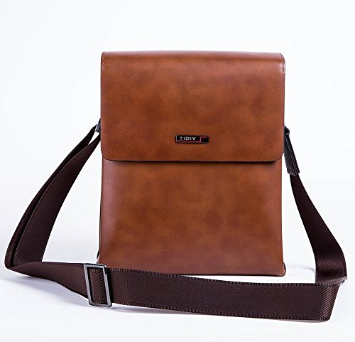 TIDIV Luxurious Men's Cow Leather Flap Bag Crossbody Bag Mens Detachable Strap Briefcase Handbag by TIDIV