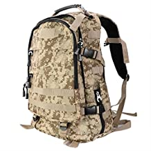 DasMeer Outdoors Hiking Backpack Large Capacity Versatile Traveling Backpacking Water-Resistant Quick-Release Buckle Shoulder Daypack Bag 45L for Mountaineering Camping Climbing(Desert Camouflage)