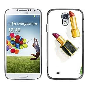 TopCaseStore / la caja del caucho duro de la cubierta de protección de la piel - Lipstick Gold Red Watercolor Clean White - Samsung Galaxy S4 I9500