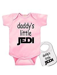 """"""" Daddys Little Jedi """" Custom Star Wars Baby bodysuit onesie & Matching bib Set"""