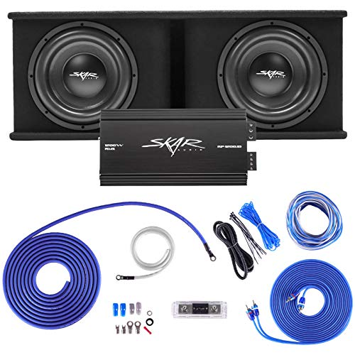 """Skar Audio Dual 12"""" Complete 2,400 Watt SDR Series Subwoofer Bass Package - Includes Loaded Enclosure with Amplifier"""