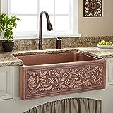 """Signature Hardware 214146 30-1/8"""" Vine Design Farmhouse Single Basin Copper Kitchen Sink"""