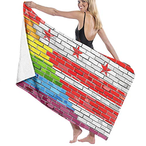 SARA NELL Microfiber Beach Towel Brick Wall Washington Dc and Gay Flags Bath Towel Beach Blanket Quick Dry Towel for Travel Swim Pool Yoga Camping Gym Sport -30