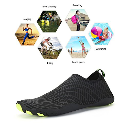 Bigcount Männer Frauen Wasser Aqua Schuhe Quick Dry Barfuß Haut Sock Schuhe mit Drainage Löcher für Beach Swim Surf Gym Schwarz