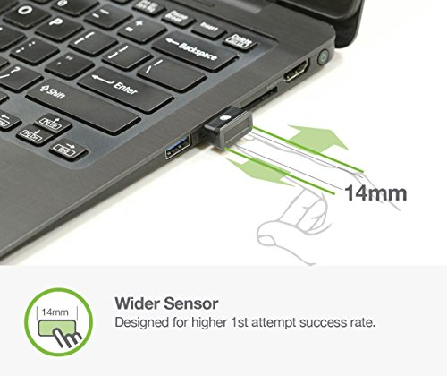 Secure Finger Scanner (Idem FCC BioScan Compact USB Fingerprint Scanner for Fast Win10 Sign-in w/ Wide Sensor for Superb 1st Attempt Recognition, Anti-spoofing Protection, 360°Finger Readability, Multi Fingerprints Support)