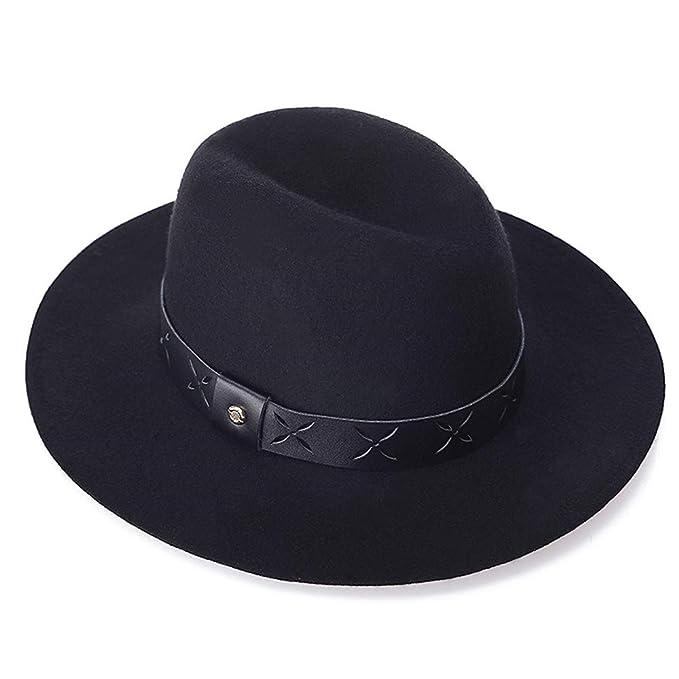 adb0fc37714c Rolcheleego - Sombrero Mujer Hombre Fedora de Lana 100% Fieltro Negro de  Ala Ancha Sombrero Panamá Gorra Jazz Retro Trilby para Adulto Unisex