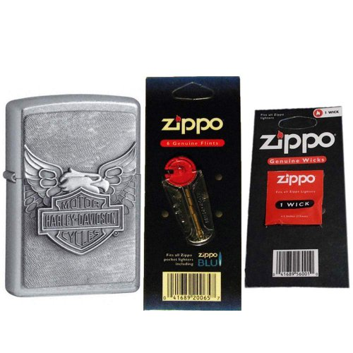 (Zippo 20230-HD Street Chrome Iron Eagle Emblem Windproof Lighter with One Flint Card and One Wick)