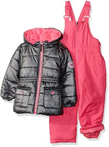 Pink Platinum Girls' Toddler FOIL Print Snowsuit, Silver 4T