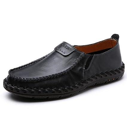 MSFS Zapatos Hombre Cuero Genuino Confort Hecho a Mano Oficina y Mocasines de Carrera Ligero Tamaño