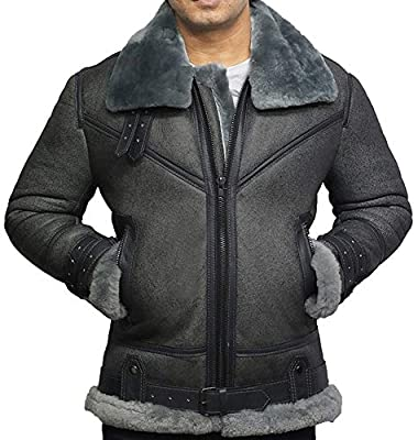 Brandslock Men's Genuine Shearling Sheepskin Leather Pilot Aviator B3 WWII Bomber Flying Cockpit Jacket