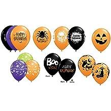 "10 Assorted 11"" Latex Balloons - Halloween Balloons - Helium Quality"