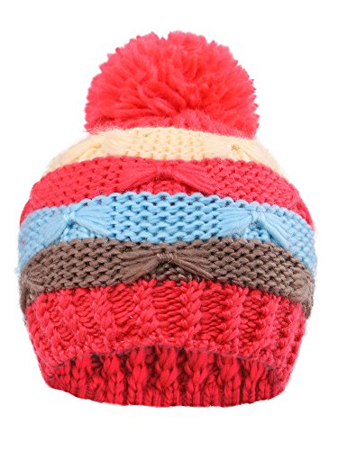 er Chunky Striped Knit Beanie with Yarn Pompom Hat,Red Striped 1 (Arctic Beanie)
