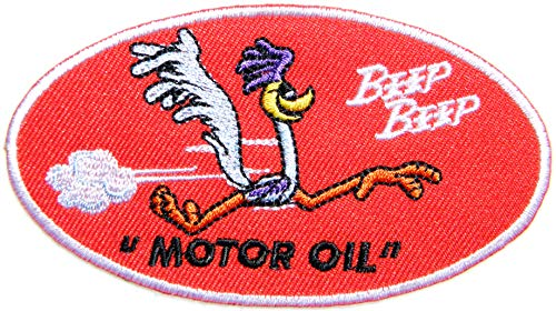 (Beep Beep Nostalgic Plymouth Road Runner Roadrunner Logo Automotive Performance Motorcycles Car Racing Motorsport Biker Racing Patch Iron on Applique Embroidered T Shirt Jacket Costume)