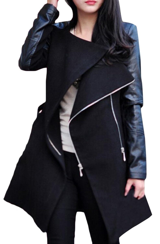 Honey GD Women's Wool Coat Fashion Elegant Long Lapel Parka Outwear