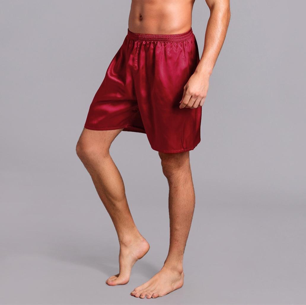 Pervobs Men Shorts Men's Shorts Silk Satin Pajama Sleepwear Homewear Robes Shorts Loungewear Underwear (XL, Red) by Pervobs Men Shorts (Image #3)