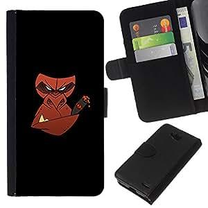 LECELL--Cuero de la tarjeta la carpeta del tirón Smartphone Slots Protección Holder For LG OPTIMUS L90 -- Mal cigarro mono --