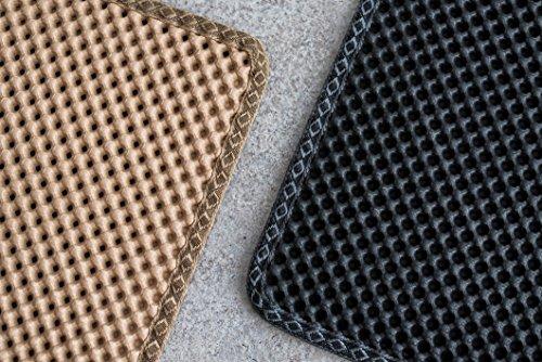 Blackhole Litter Mat - Moonshuttle Rectangular Cat Litter Mat, 30 X 23-Inch, Dark Gray