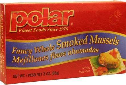 Polar Fancy Whole Smoked Mussels 3oz Can (Pack of 6) ()