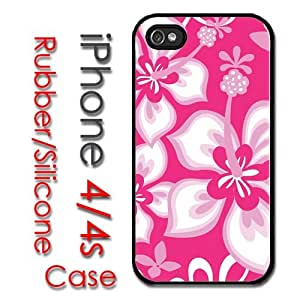 iPhone 4 4S Rubber Silicone Case - Hibiscus Pink Flowers Hawaiian Style Print