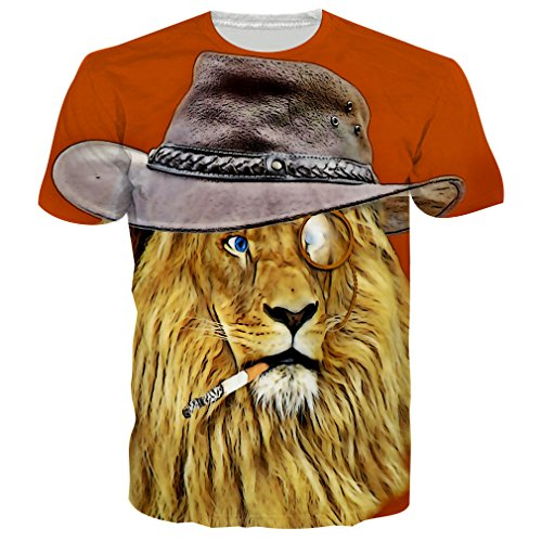 RAISEVERN Unisex 3D Cool Lion Printed Hip Hop Style T-Shirts Tees M