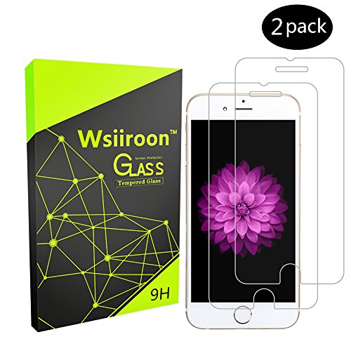 Glass Screen Protector for iPhone 6S iPhone 6, Wsiiroon Tempered Glass Screen Protector for iPhone 6S, iPhone 6(4.7'), 9H Hardness Bubble Free, Anti-Fingerprint, Oil Stain(2 pack)
