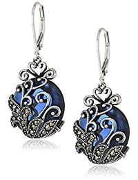 Sterling Silver Oxidized Genuine Marcasite and Round Blue Glass 16x5mm Filigree Lever Back Earrings