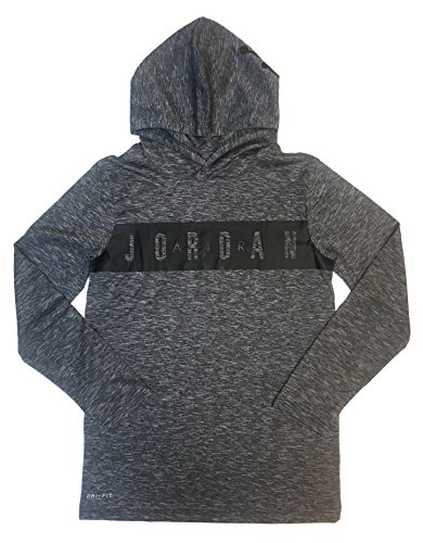 NIKE Air Jordan Boy's Lightweight Dri-Fit Breathe Hoodie (Large, Light Smoke Grey) by NIKE