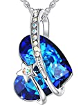 ANEWISH Jewelry Womens Pendant Necklace for Women Teen Girl Lady Blue Love Heart Made with Crystals