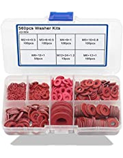 Boeray 560pcs Red Steel Paper Pad Meson Gasket Washer Assortment Kit Insulating Spacers Insulation Washers Fiber washers