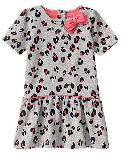 - Gymboree Baby Girls' Grey Leopard French Terry Dress, Cozy Heather, 18-24