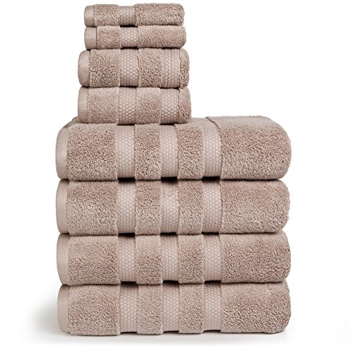 (Vivendi Infinity Zero Twist 100% Cotton 8-Piece Towel Set, 4 Bath, 2 Hand, 2 Wash (Taupe))