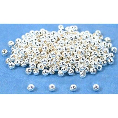 300 Round Ball Beads Sterling Silver Beading Parts - Sterling Focal Bead Silver