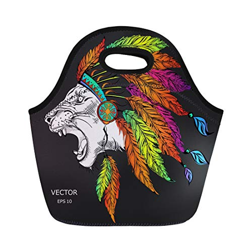 Semtomn Neoprene Lunch Tote Bag Lion in the Colored Indian Roach Feather Headdress Reusable Cooler Bags Insulated Thermal Picnic Handbag for Travel,School,Outdoors, -