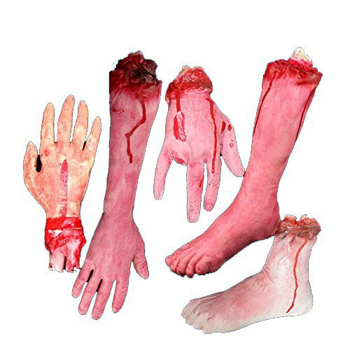 E-FirstFeeling Severed Hands Feet 5pcs/set Scary Bloody Broken Body Parts Halloween April Fool Prank Props Decorations (5pcs/set (Very Scary Halloween)