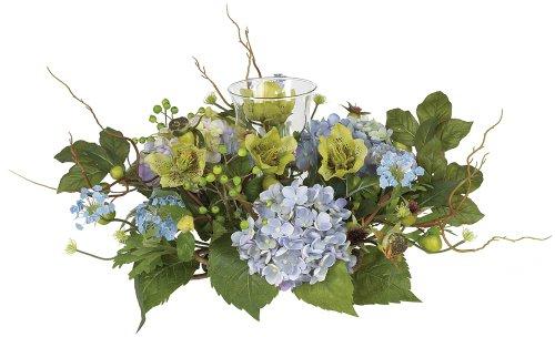 - Nearly Natural 4632-BL Hydrangea Candleabrum Decorative Centerpiece, Blue