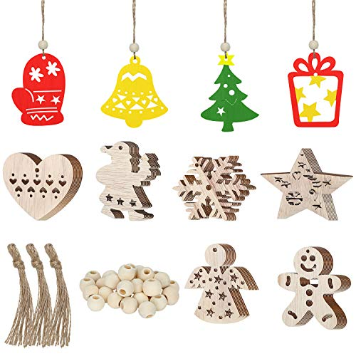 Blulu 30 Pieces Christmas Wooden Ornaments Unfinished Hanging Ornaments Decoration Christmas Wooden Craft Embellishments, Christmas Decoration with 30 Pieces Strings and Natural Wood Beads (Paint Santas To Wooden)