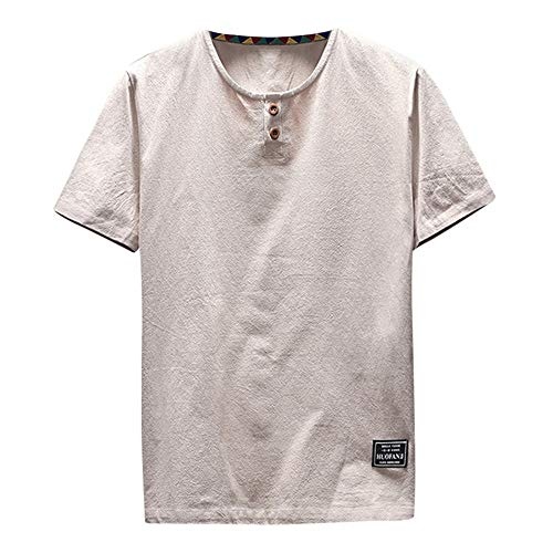 MIRRY Camiseta De Manga Corta De Hombre Camiseta Casual De AlgodóN Y Lino con Manga Corta O Cuello Redondo Top Blusa Ropa para Hombre: Amazon.es: Ropa y ...