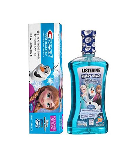 Ready...Set...Brush! Disney Frozen LISTERINE Smart Rinse Frozen Bubble Blast Flavor Anticavity Fluoride Rinse, 16.9 fl oz Plus Bonus Disney Frozen Crest Pro Health Jr. Fluoride Anticavity Toothpaste! (Toothbrush Kids Jr)