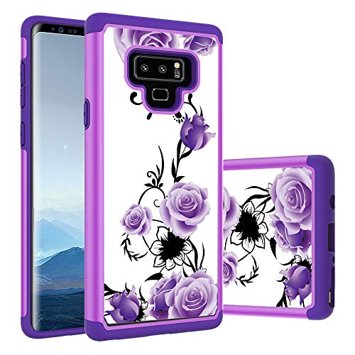 Galaxy Note 9 Case, Yuanming Hybrid Dual Layer TPU & Hard Back Cover Bumper Protective Shock-Absorption & Skid-Proof Anti-Scratch Hybrid Case for Samsung Galaxy Note 9 (Purple)