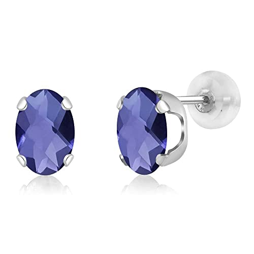 Gem Stone King 1.30 Ct Oval Checkerboard 7x5mm Blue Iolite 14K White Gold Stud Earrings
