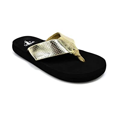 5894c1749579a0 Corkys New Women s Royal Flip Flop Gold 6. Roll over image to ...