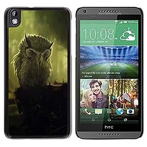 Paccase / SLIM PC / Aliminium Casa Carcasa Funda Case Cover para - Owl Painting Art Vignette Bird Feathers - HTC DESIRE 816