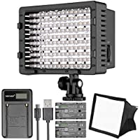 Neewer CN-160 LED Digital Camera Video Lighting Kit- Dimmable LED Video Light, Diffuser, Rechargeable Battery with Micro USB Battery Charger for Canon Nikon and Others DSLR Cameras and Camcorders