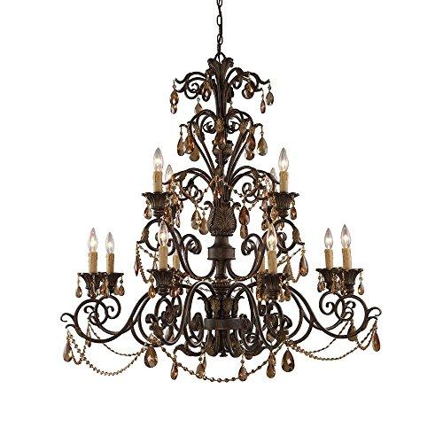 (Titan Lighting Rochelle 12-Light Weathered Mahogany Ceiling Mount Chandelier)
