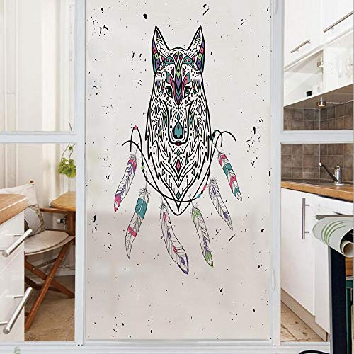 Decorative Window Film,No Glue Frosted Privacy Film,Stained Glass Door Film,Wild and Free Inspirational Artwork Ethnic Wolf with Boho Feathers Print Decorative,for Home & Office,23.6In. by 59In Pale G