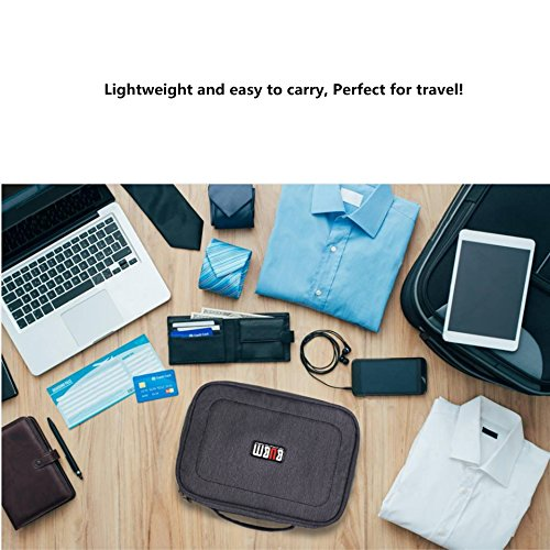 Electronics Organizer Travel Cable Cord Bag Accessories Gadget Gear Storage Cases for 8 Inch Tablet (Gray)